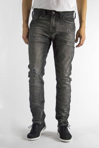 Charcoal jeans, subtle fades and distress feature, skinny fit, regular waist