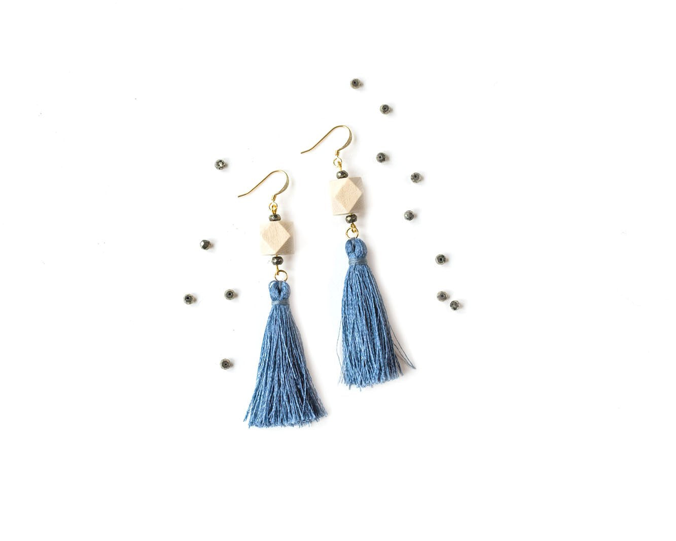 Pyrite Tassel Earrings with Nickel-Free Surgical Steel Gold