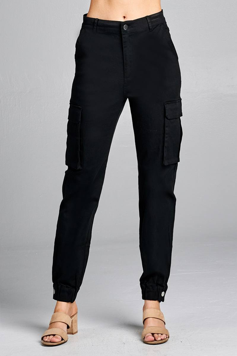 Ladies fashion waist button elastic hem w/snap button cargo pants