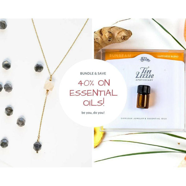 Wood and Gemstone Drop + Essential oil