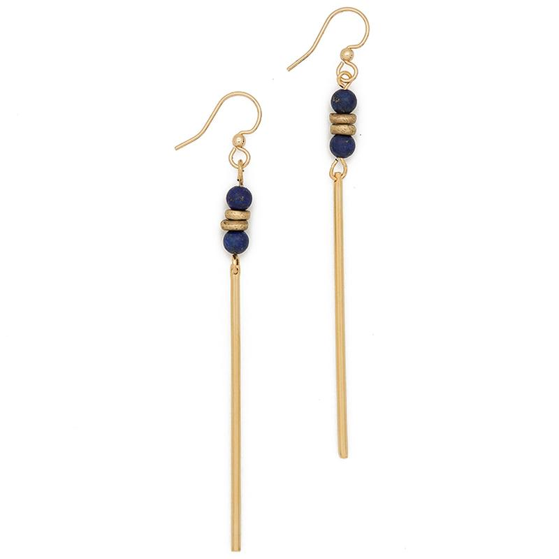 FIND VISION. Jerry Gemstone Earrings, Lapis Lazuli
