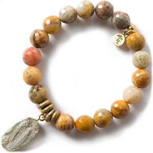 CHOOSE JOY. Mexican Agate Gemstone Bracelet, 10mm