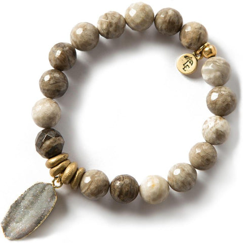 TRUST THE JOURNEY. Wood Jasper Gemstone Bracelet, 10mm
