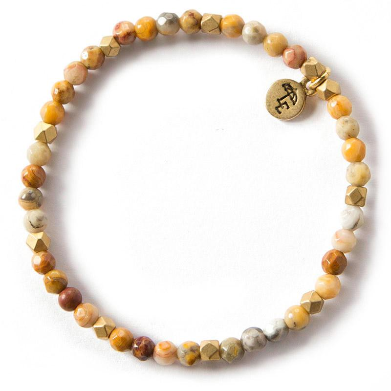CHOOSE JOY. Mexican Agate Gemstone Bracelet, 4mm