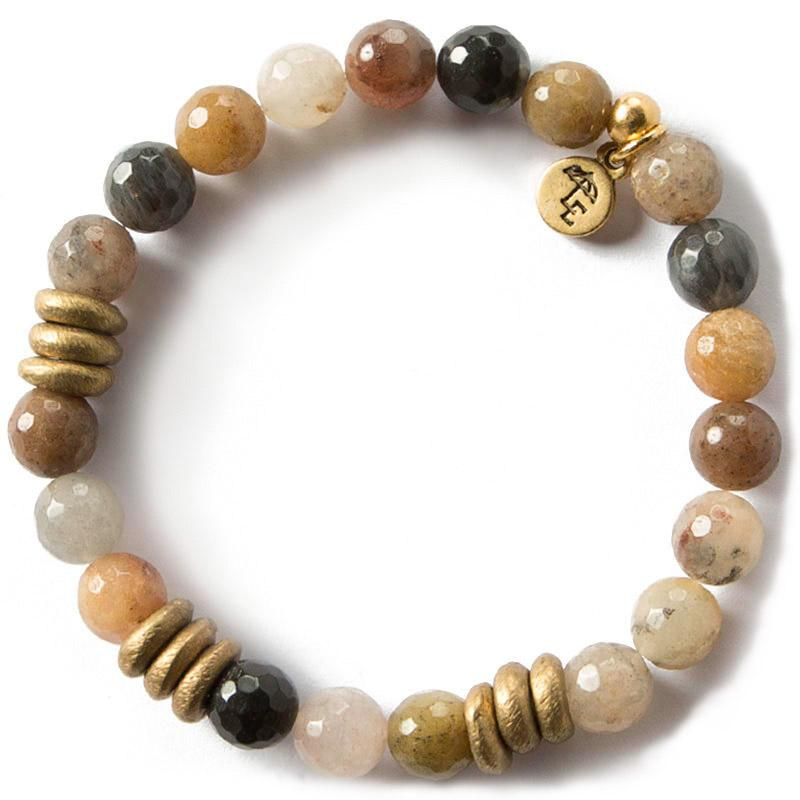 FOCUS ON THE PRESENT. Fancy Jasper Gemstone Bracelet, 8mm