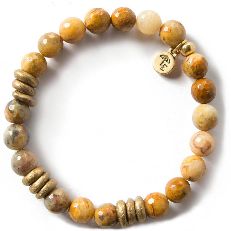 CHOOSE JOY. Mexican Agate Gemstone Bracelet, 8mm