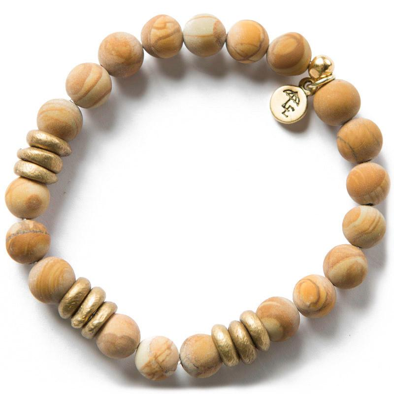 TRUST THE JOURNEY. Wood Jasper Gemstone Bracelet, 8mm