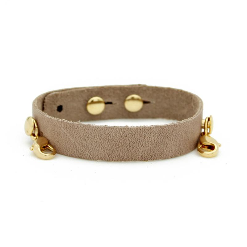 Bone Leather Cuff, Gold