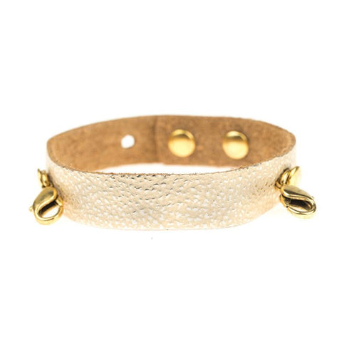 Champagne Leather Cuff, Gold