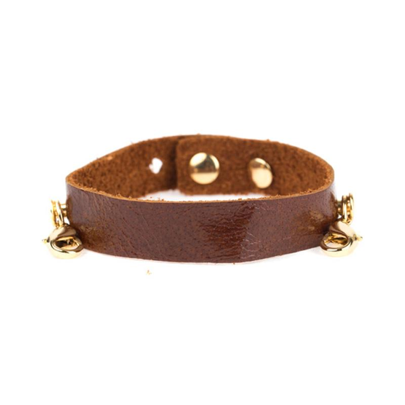 Black Leather Cuff, Gold