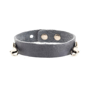 Dove Gray Leather Cuff, Silver