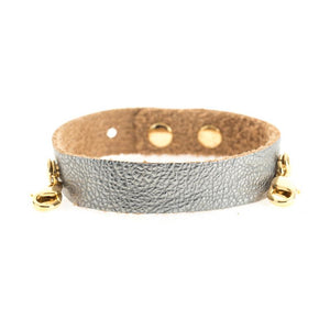 Gunmetal Leather Cuff, Gold