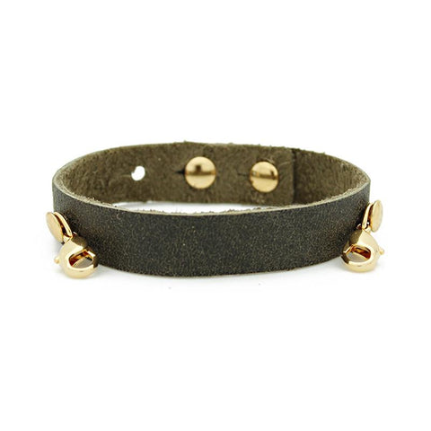 Olive Leather Cuff, Gold