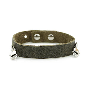 Olice Leather Cuff, Silver