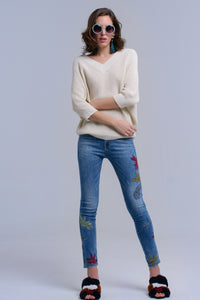 Skinny Embroidered Jeans