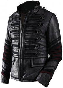 Black Military Men Leather Jacket