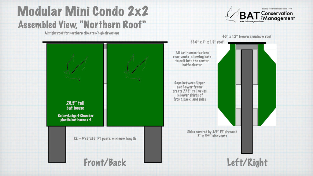 Modular Mini Bat Condo 2x2 - Big Bat House