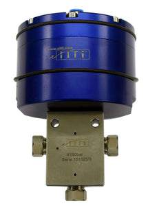 "Allfi Waterjet 1/4"" 3-way Valve - Pneumatic Normally Open - Metric Thread - 60kpsi/4,150bar"
