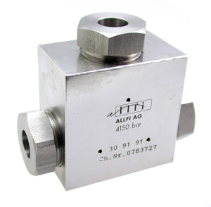"Allfi Waterjet 9/16"" Tee Fitting - 60,000psi/4,150bar - Standard/Imperial Threaded"