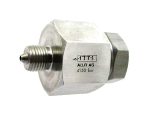"Allfi Waterjet 1/4"" Male to 9/16"" Female Reducer Coupling, 60k Metric Thread"