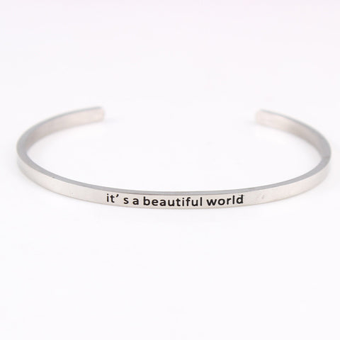 Stainless Steel Message Bangles Engraved Positive Inspirational Quote