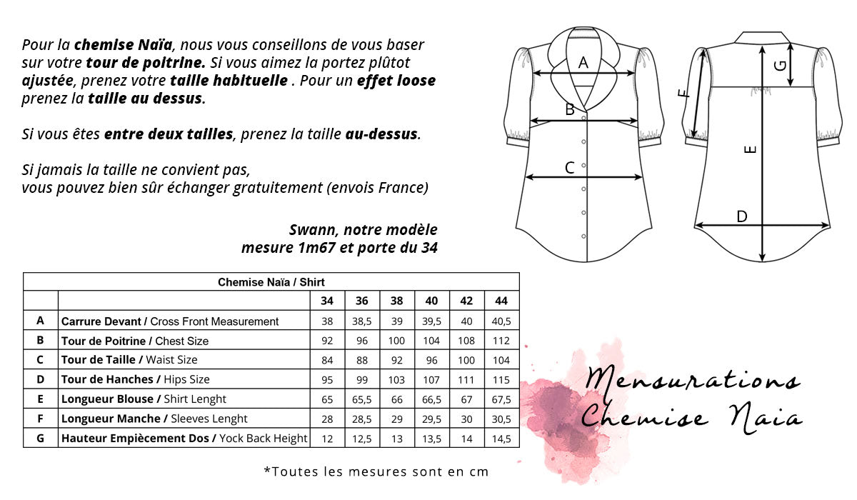 guide des tailles chemise naia