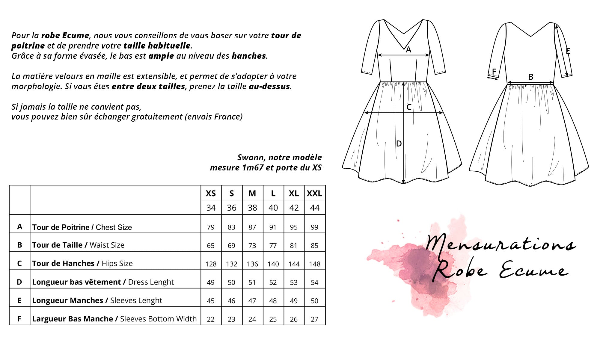 guide des tailles robe ecume