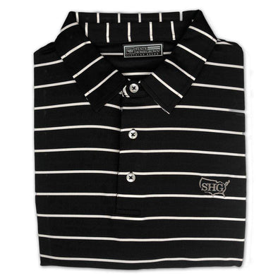 Black and White Classic Stripe Performance Polo