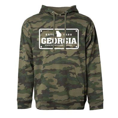 Georgia License Plate Fleece Hoodie, camo hoodie
