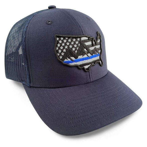 Police, Support Police, thin blue line flag hat, Thin Blue Line Trucker Hat