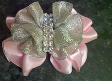 Handcraft Pink Girl Bow  Crocodile Alligator  Hair Clip or Satin Hair Headband