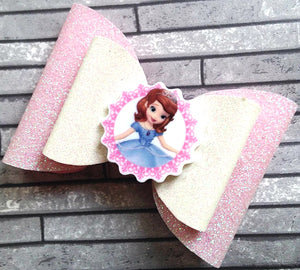 Handmade Baby Girl / Girl Sparkling Glitter Hair Bow Alligator Clip with princesses characters
