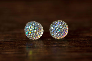 Newborn Feathers 10mm Iridescent Clear Crystal Ball Earrings