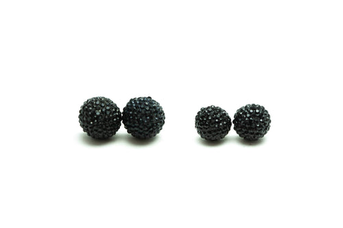 Newborn Feathers 10mm Onyx Crystal Ball Earrings