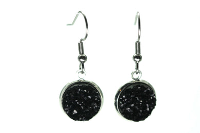 Newborn Feathers 12mm Drop 12mm Black Drop Earrings