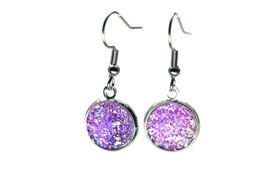 Newborn Feathers 12mm Drop 12mm Purple Drop Earrings