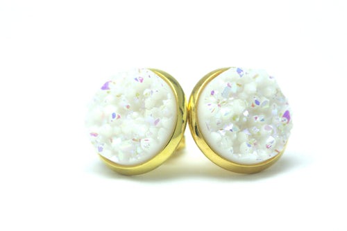 Newborn Feathers 12mm Geode Earrings Gold 12mm Arctic Geode Earrings