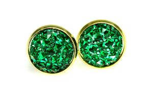 Newborn Feathers 12mm Geode Earrings Gold 12mm Emerald Green Geode Earrings