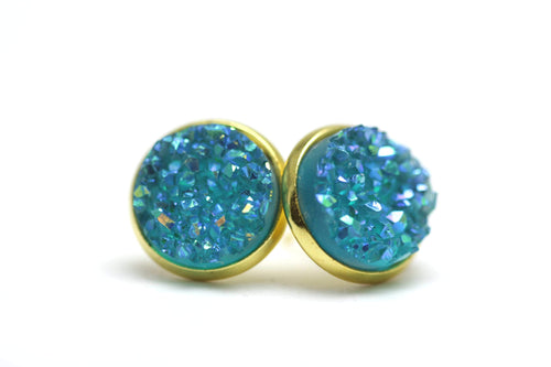 Newborn Feathers 12mm Geode Earrings Gold 12mm Turquoise Geode Earrings
