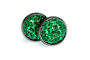 Newborn Feathers 12mm Geode Earrings Gun Metal 12mm Emerald Green Geode Earrings