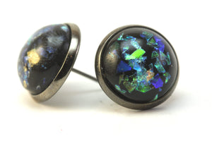Newborn Feathers 12mm Geode Earrings Gun Metal 12mm Starry Night Earrings