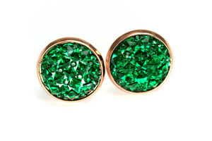Newborn Feathers 12mm Geode Earrings Rose Gold 12mm Emerald Green Geode Earrings