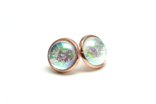 Newborn Feathers 12mm Geode Earrings Rose Gold 12mm Magic Earrings