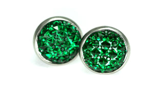 Newborn Feathers 12mm Geode Earrings Stainless Steel 12mm Emerald Green Geode Earrings