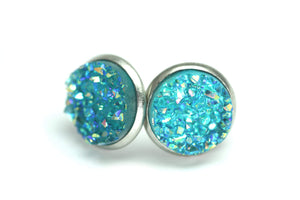 Newborn Feathers 12mm Geode Earrings Stainless Steel 12mm Turquoise Geode Earrings