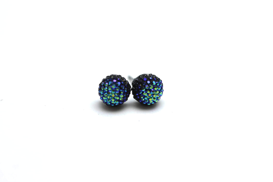 Newborn Feathers 8mm Blue Crystal Ball Earrings