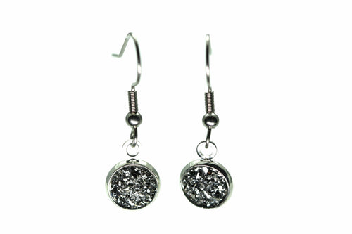 Newborn Feathers 8mm Drop 8mm Charcoal Drop Earrings