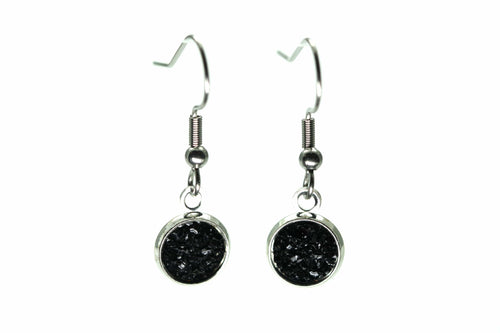 Newborn Feathers 8mm Drop 8mm Onyx Drop Earrings
