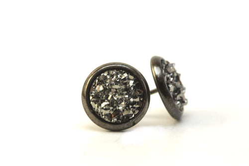 Newborn Feathers 8mm Handcrafted Geode Earrings Gun Metal 8mm Charcoal Geode Earrings