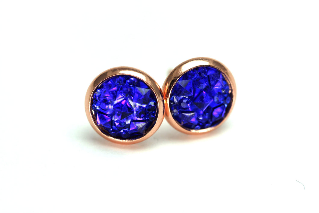 Newborn Feathers 8mm Handcrafted Geode Earrings Rose Gold 8mm Cobalt Geode Earrings